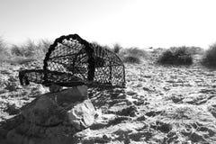 Panier de pêche sur la roche de sable Photo stock