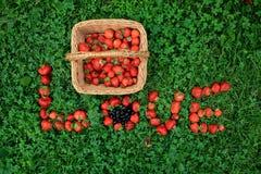 Panier de paille avec des fraises et le mot de ` d'AMOUR de ` de fraise Image libre de droits
