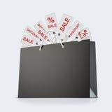 Panier de papier fort arrière avec le sort d'étiquettes sur le fond blanc Photo stock