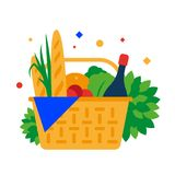 Panier de pique-nique avec la baguette, le fruit et les boissons illustration stock