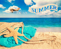 Panier de plage Photo stock