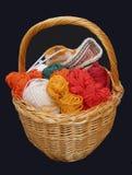 Panier de tricotage Photo libre de droits