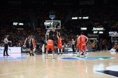 Panier de Valencia Basket et de Bilbao Photos libres de droits