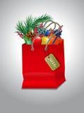 Panier del rojo de la Navidad Imagen de archivo