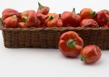 Panier des chilis rouges d'isolement sur le blanc Photographie stock