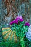 Panier des fleurs Images stock