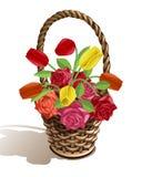 Panier des fleurs Images libres de droits