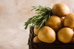 Panier en bois avec les pommes de terre et le romarin Images libres de droits