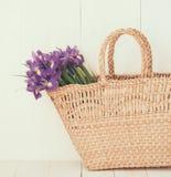 Panier en osier avec des fleurs de ressort Photographie stock libre de droits