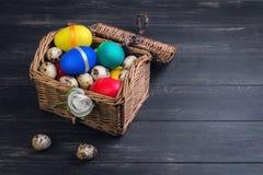 Panier en osier avec les oeufs colorés de poulet et de caille de coffre Photo libre de droits