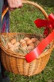 Panier en osier avec les oeufs frais photo stock