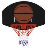 Panier et boule de basket-ball Images stock