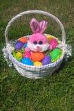 Panier et lapins de Pâques Photographie stock libre de droits