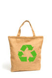 Panier hecho fuera del paño de saco reciclado Imágenes de archivo libres de regalías