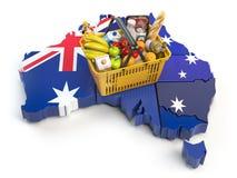 Panier ou indice des prix à la consommation du marché dans l'Australie Bas d'achats illustration libre de droits