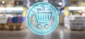 panier ? provisions 3d sur le fond de tache floue de supermarch? Concept d'achats illustration libre de droits