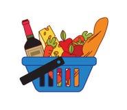 Panier à provisions de supermarché Photos stock