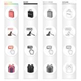 Panier, vente à la vente aux enchères, bouton d'achat, achat, emballage cadeau Icônes réglées de collection de vente et d'achat d Images libres de droits