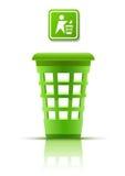Panier vert d'ordures avec l'indicateur Illustration Libre de Droits
