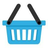 Panier vide bleu avec l'icône de deux poignées Photographie stock