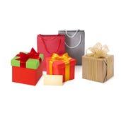 Panieres y caja de papel, etiqueta, cinta aislada Imagen de archivo libre de regalías