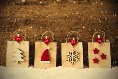 Paniers avec la décoration de Noël, filtre d'Instagram, Snowflak Photo stock