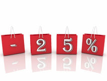 Paniers avec les ventes et l'inscription de pour cent Image stock