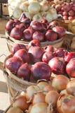 Paniers des oignons Photographie stock libre de droits