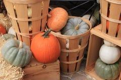 Paniers et caisses en bois avec plusieurs tailles, formes et variétés de potirons et de courge Photographie stock