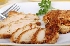 Panierte Hühnchen-Brust lizenzfreies stockfoto