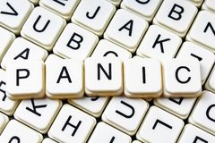 Panika teksta słowa crossword Abecadło list blokuje gemowego tekstury tło Biali abecadłowi sześcianów bloków listy dalej Fotografia Stock