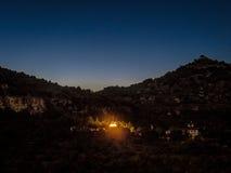 Panillo buddisttempel på natten Royaltyfri Foto