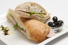 Panini三明治用火腿和mozarella 库存图片