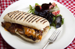 Panini. Home made panini with roasted turkey and a small green salad to the side Royalty Free Stock Photography