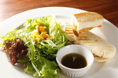 Panini. Included fruit on the dish. With side of salad Royalty Free Stock Image