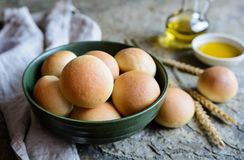 Panini All'Olio - Italian olive oil bread rolls. Panini All'Olio - traditional Italian olive oil bread rolls Stock Image