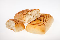 Panini. Bread rolls lit evenly on white background ideal for use in advert Royalty Free Stock Photography