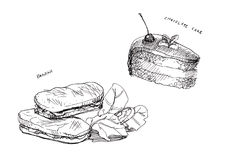 Panini and cake chocolate line drawing Royalty Free Stock Image