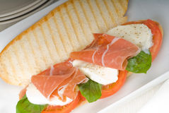 Panini caprese and parma ham Stock Photography