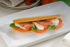 Panini caprese and parma ham Royalty Free Stock Photo