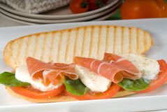 Panini caprese and parma ham Royalty Free Stock Photos