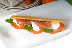 Panini caprese and parma ham Stock Images