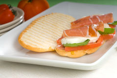 Panini caprese and parma ham Royalty Free Stock Images