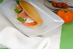 Panini caprese and parma ham Royalty Free Stock Photography