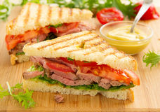 Panini closeup with roast beef Royalty Free Stock Photo