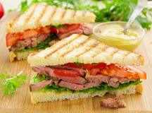 Panini closeup with roast beef Royalty Free Stock Images