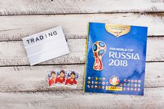 Panini collectible album dla Rosja i majchery 2018 futbolowych w Zdjęcie Stock