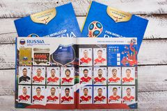 Panini collectible stickers and album for Russia 2018 football w stock image