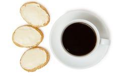 Panini con formaggio da spalmare e caffè nero Fotografia Stock Libera da Diritti