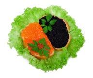 Panini con il caviale rosso e nero su lattuga Fotografia Stock